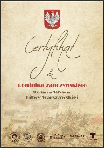Certyfikat ukończenia biegu wirtualnego bitwa warszawska 2020 r.
